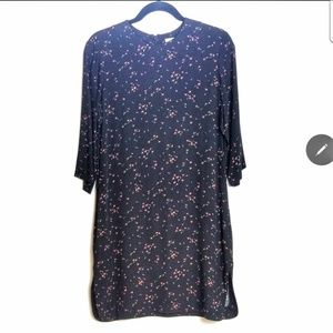 & other stories black floral long sleeve dress